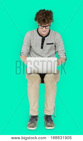 Man sitting and using laptop for conection internet