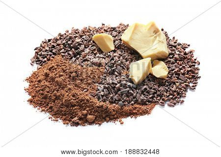 Cocoa nibs, butter and powder on white background