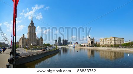 MOSCOW, RUSSIA - MAY 01: Moscow Panorama - Stalin's famous skyscraper Hotel Ukraine on May 01, 2014 in Moscow, Russia.