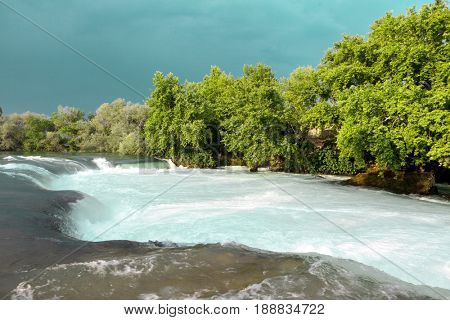 Water rapids. Mountain river, beautiful mountain shoal water. Mountain river, forest green rapid waterfall.
