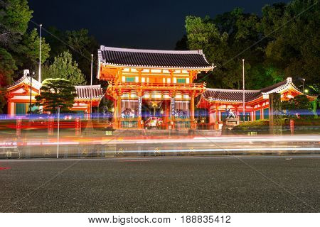 KYOTO, JAPAN - NOVEMBER 10, 2016: Buddhist temple with traffic lights in Kyoto, Japan. Kyoto was formerly the Imperial capital of Japan for more than one thousand years with many historic temples.