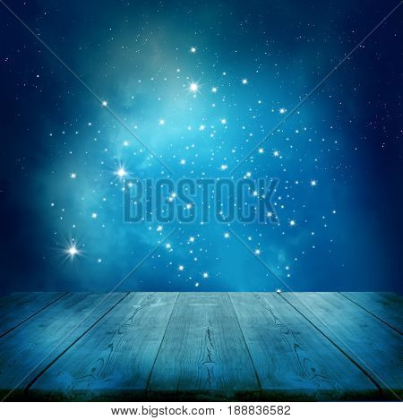 Ramadan Kareem background.Stars background  with wooden table