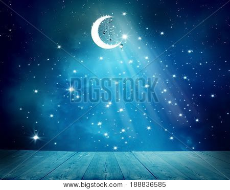 Islamic greeting  Eid Mubarak cards for Muslim Holidays.Eid-Ul-Adha festival celebration . Ramadan Kareem background.Crescent Moon and Lanterns Lightning in sky