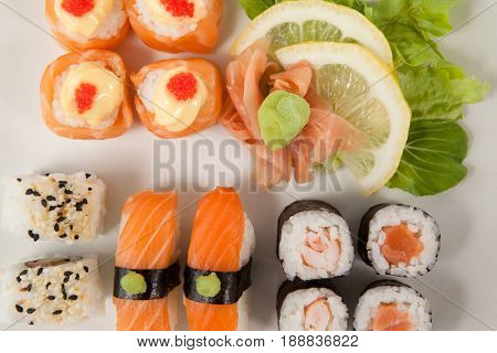 Close-up of set of assorted sushi served in a white plate