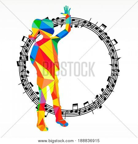 Polygon silhouette dancing human and melody circle, music battle party background.