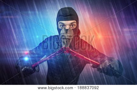 Burglar in action with colorful concept.