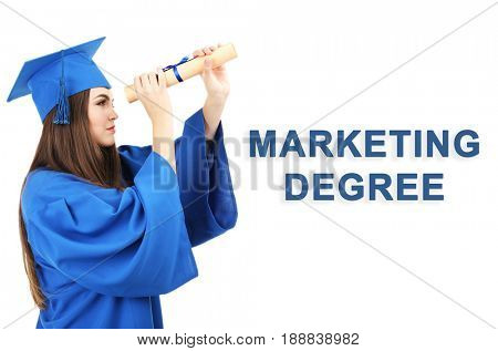 Marketing degree concept. Student in graduation gown and cap with diploma on white background
