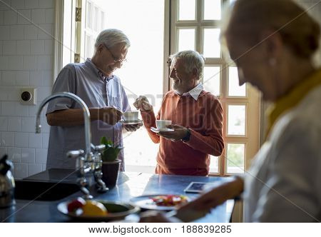 Senior Couple Daily Lifestyle Cooking