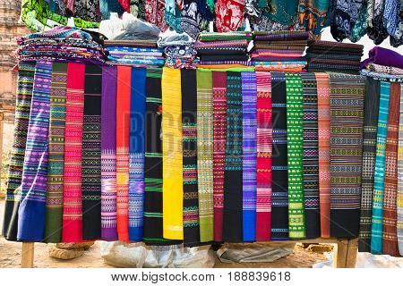 Colorful Burmeese fabric in market at Bagan, Myanmar. (Burma)