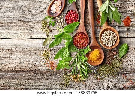 Herbs and spices on a wooden board