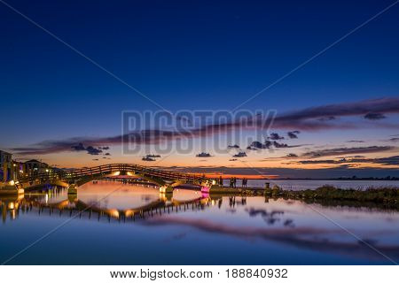 Bridge on the Ionian island of Lefkas Greece at sunset