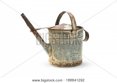 Old metal watering can on white background, Clipping path included