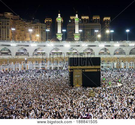 Muslims pilgrims from all around the world circumabulate (tawaf) the Kaaba at Masjidil Haram, Mecca, Saudi Arabia