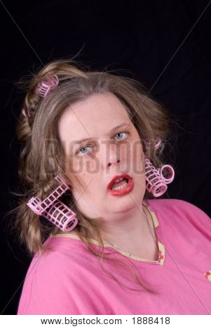 Woman In Hair Curlers