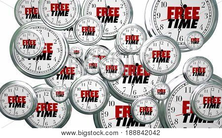 Free Time Spare Moments Clocks Flying 3d Illustration