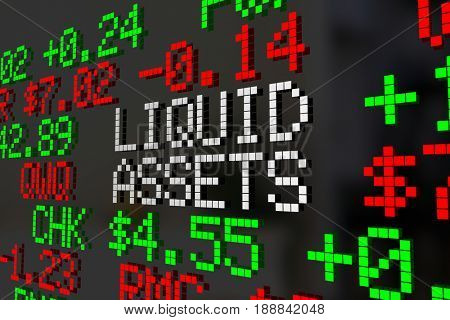 Liquid Assets Stock Market Investment Account 3d Illustration