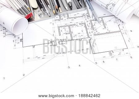 Graphical Plan Of Apartment Rooms And Blueprint Rolls With Drawing Tools