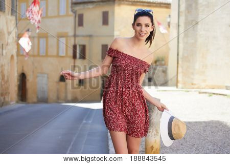 The tourist visits a small Italian town