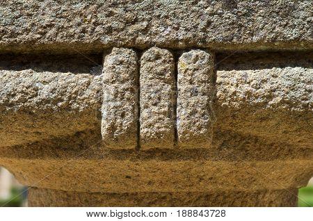 Roman theater close up, Merida, Badajoz, Extremadura, Spain.