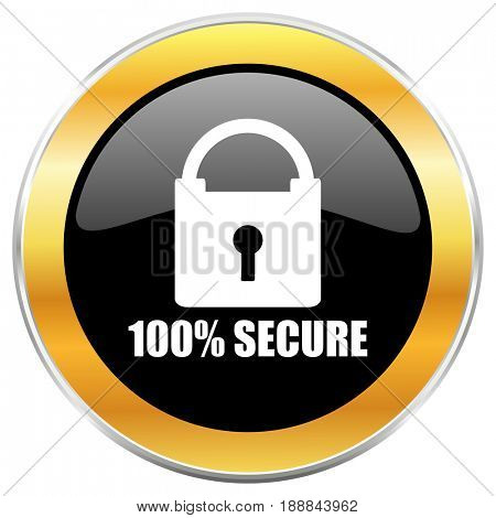 Secure black web icon with golden border isolated on white background. Round glossy button.