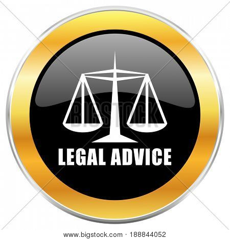 Legal advice black web icon with golden border isolated on white background. Round glossy button.