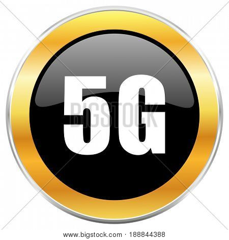 5g black web icon with golden border isolated on white background. Round glossy button.