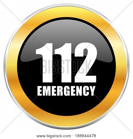 Number emergency 112 black web icon with golden border isolated on white background. Round glossy button.