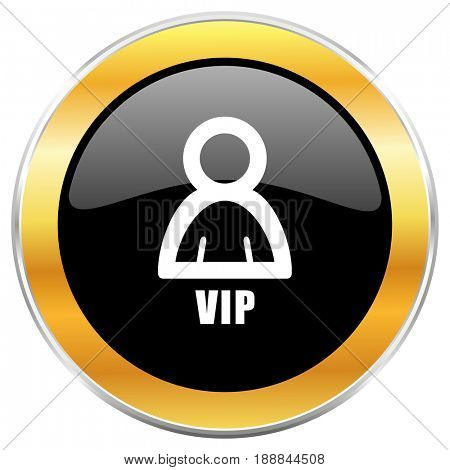 Vip black web icon with golden border isolated on white background. Round glossy button.