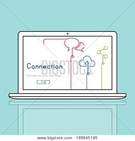 Network connection graphic overlay background on laptop