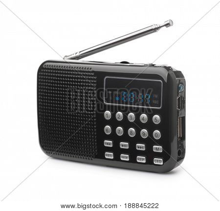 Pocket FM radio mp3 player isolated on white