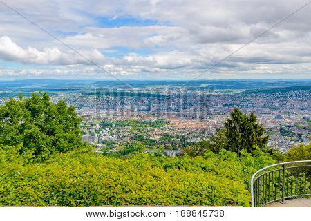 Zurich suburbs overlook from Uetliberg