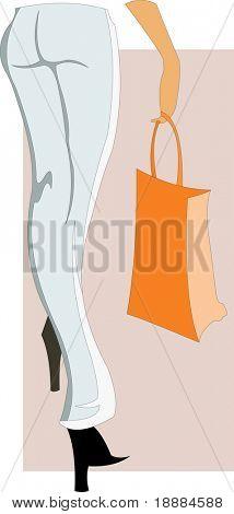 Vektor-Bild der Frau-Beine und orange Tasche. guten Zweck zum Thema Einkaufen