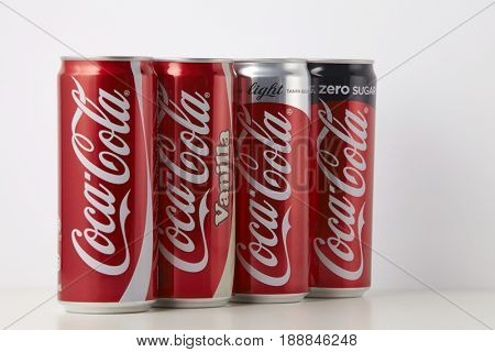 KUALA LUMPUR, MALAYSIA - May 26th 2017, Various type of Coca Cola drinks. Coca Cola drinks are produced and manufactured by The Coca-Cola Company, an American multinational beverage corporation.