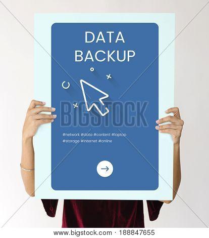 Hands holding network graphic overlay billboard