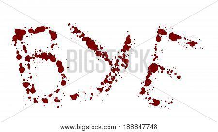BYE bleeding isolated. Lost a lot of blood, having a hemorrhage. The blood on the white background