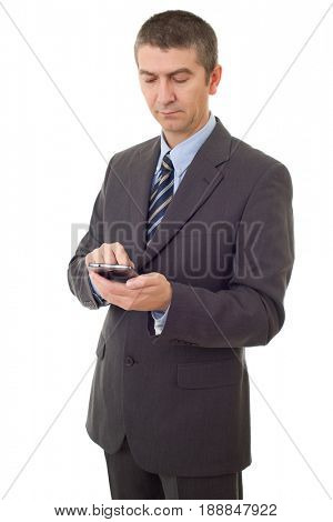 worried business man on the phone, isolated