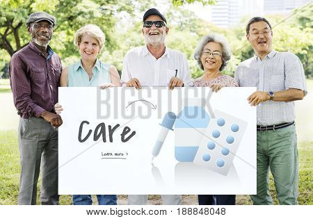 Senior people holding billboard network graphic overlay