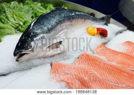 Fresh salmon on ice in a supermarket