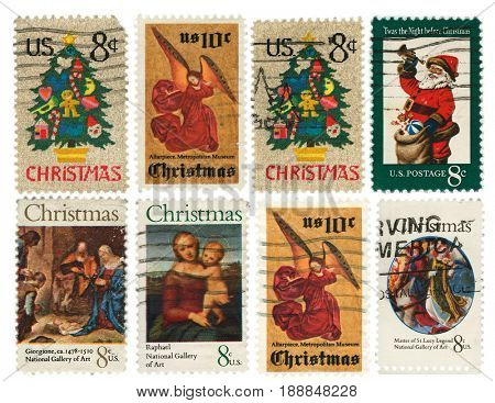 UNITED STATES - CIRCA 1970s: Collection of vintage Christmas postage stamps with clipping paths