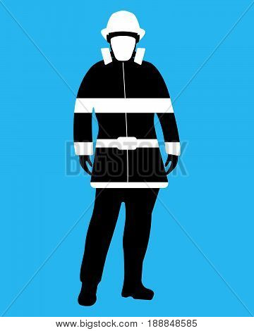 Fireman Flat Icon. Service 911. Silhouette Vector Illustration