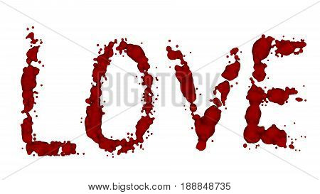 Love bleeding isolated. Lost a lot of blood, having a hemorrhage. The blood on the white background