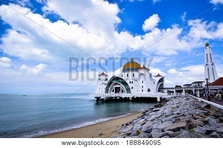 The Malacca Straits Mosque is the first mosque located on the man-made Malacca Island near Malacca City in Malacca state Malaysia. The mosque, which was built using the mix of Middle Eastern and Malay craftsmanship.