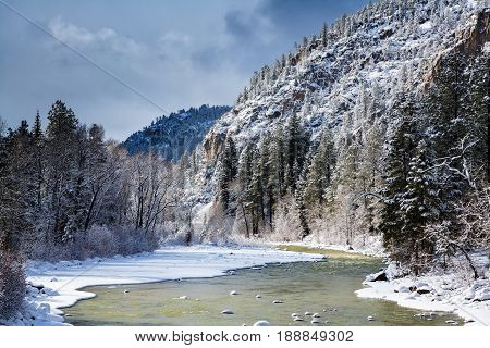 The Animas River in Winter. Colorado Rocky Mountains