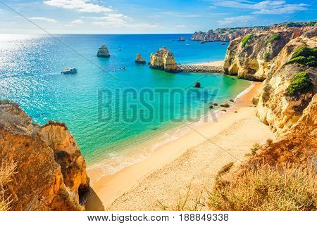 Beautiful sandy beach near Lagos in Panta da Piedade Algarve region Portugal