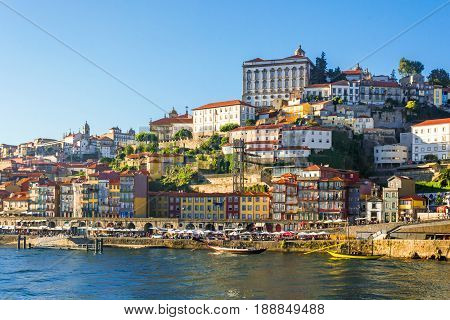Porto Portugal old town skyline from the other side of Douro River