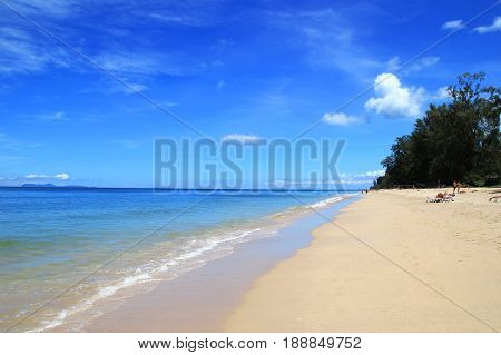 Travel To Island Koh Lanta, Thailand. The View On A Beach With Sea, Blue Sky And White Sand On A Sun