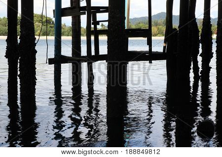 Travel To Island Koh Lanta, Thailand. The View Of The Pillars Under The Bridge And Their Reflection