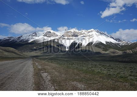 The Lost River Mountain range stretches 75 miles from Challis to Arco, Idaho and includes most of the tallest peaks in the state.  This is near the town of Mackay.