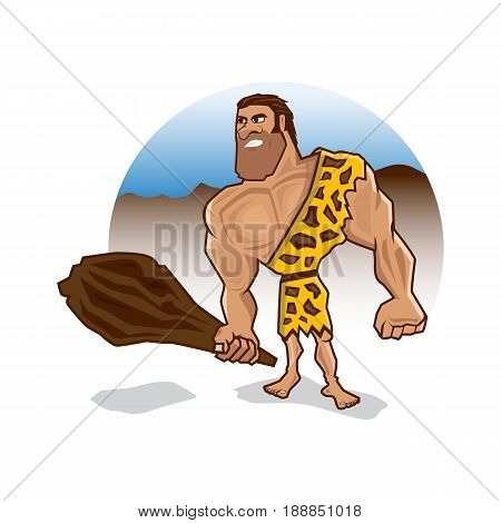 angry caveman holds a wooden club with big and strong muscles