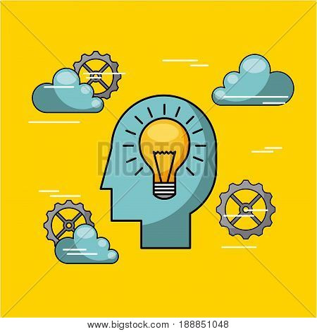 silhouette head pinions vetor illustration design graphic bulb